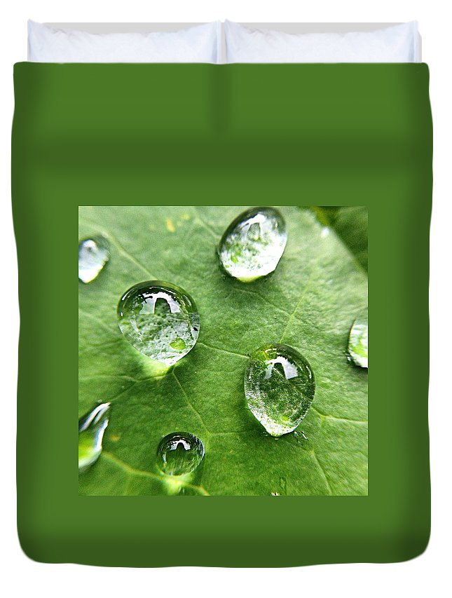 Douglasville Duvet Cover featuring the photograph Close-up Of Water Drops On Leaf by Brian Harrison / Eyeem
