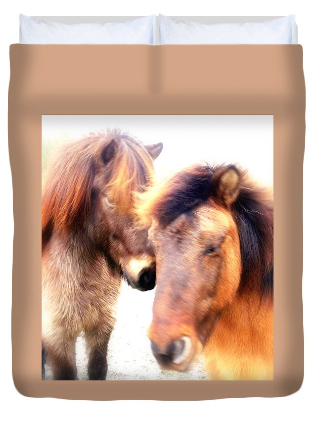 Horse Duvet Cover featuring the photograph Close Your Eyes And Imagine That You Are Among Friends by Hilde Widerberg
