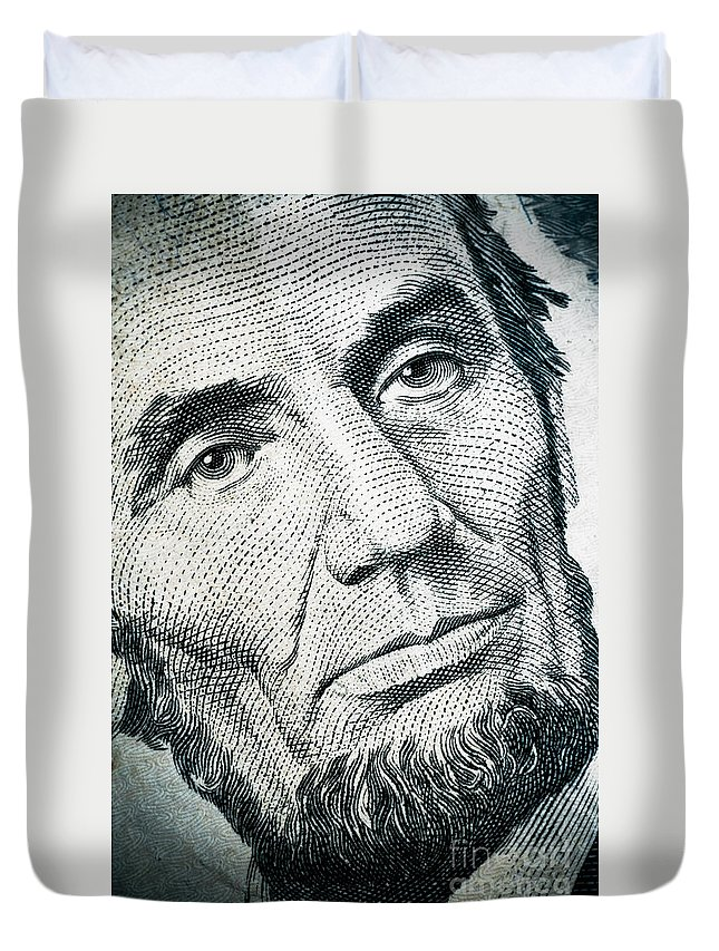 Abe Duvet Cover featuring the photograph Closeup Of A Five Dollar Bill by Amy Cicconi