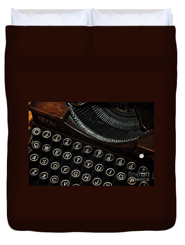 Alphabet Duvet Cover featuring the photograph Closeup Of Antique Typewriter by Amy Cicconi