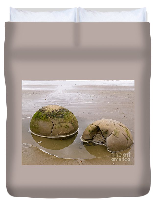 South Island Duvet Cover featuring the photograph Closeup Of Famous Spherical Moeraki Boulders In Nz by Stephan Pietzko