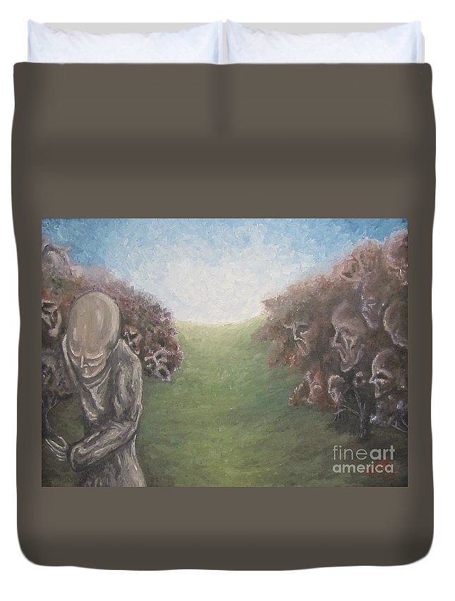 Tmad Duvet Cover featuring the painting Closure by Michael TMAD Finney