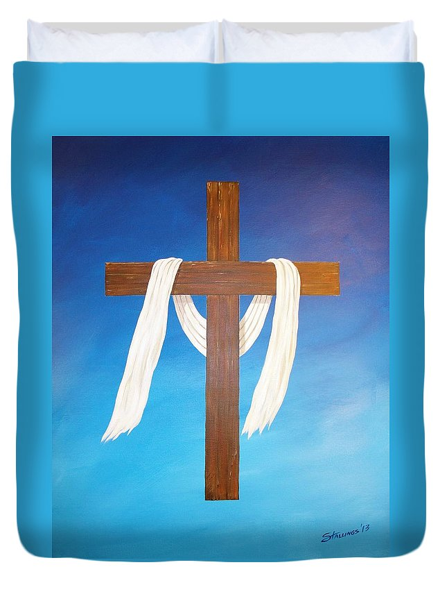 Cross Duvet Cover featuring the painting Cloth Of Christ by Shawn Stallings