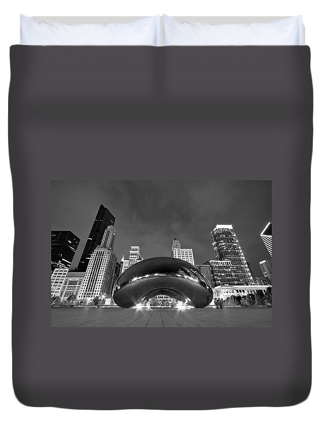 3scape Duvet Cover featuring the photograph Cloud Gate and Skyline by Adam Romanowicz