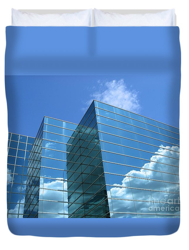Building Duvet Cover featuring the photograph Cloud Mirror by Ann Horn