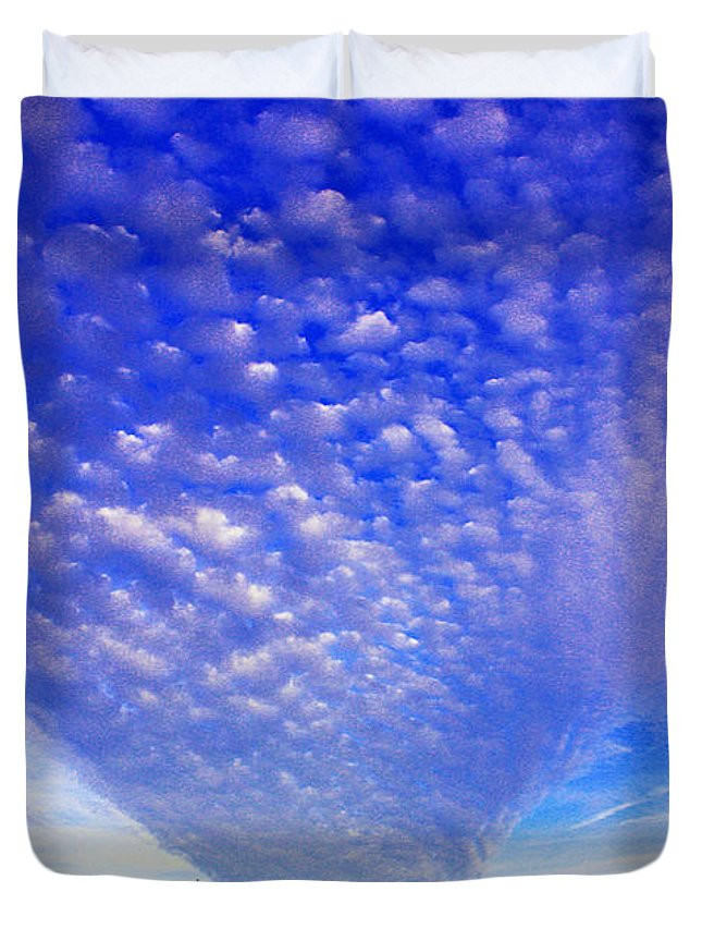 Clouds Duvet Cover featuring the photograph Cloud Tails At Sunrise by Christine Dekkers
