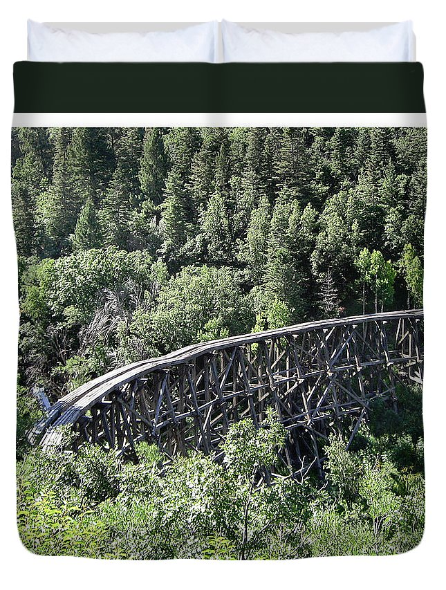 The Cloudcroft Trestle Duvet Cover featuring the photograph Cloudcroft Railroad Trestle by Jack Pumphrey
