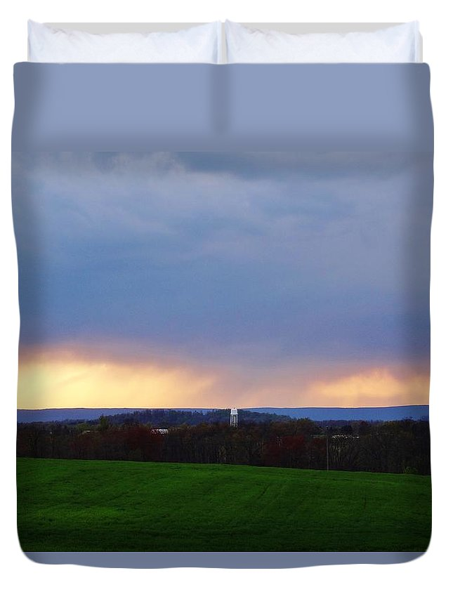 Cloud Duvet Cover featuring the photograph Clouded Sunset 2 by Scenic Sights By Tara
