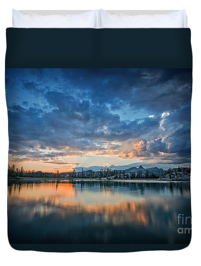 Lake Duvet Cover featuring the photograph Clouds At Lower Sunset Lake by Dianne Phelps