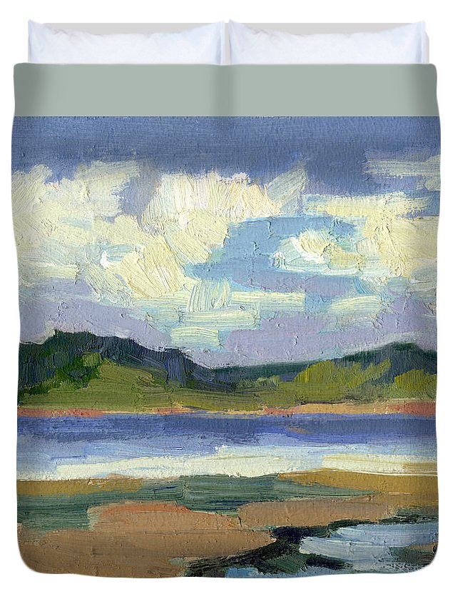 Clouds Duvet Cover featuring the painting Clouds At Vashon Island by Diane McClary