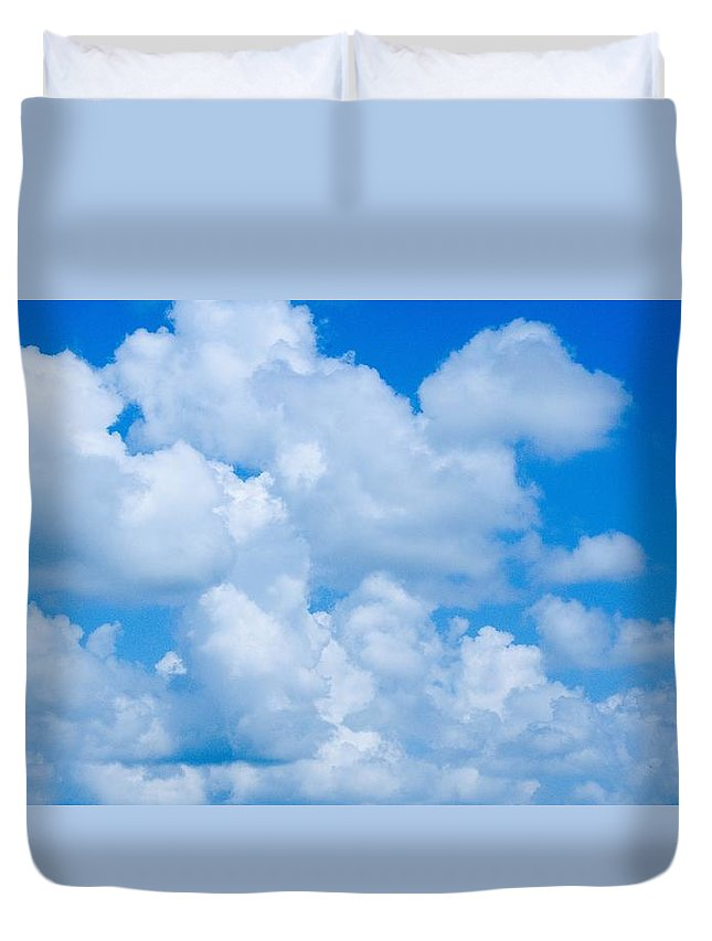 Clouds Duvet Cover featuring the photograph Clouds In Blue Sky by FL collection