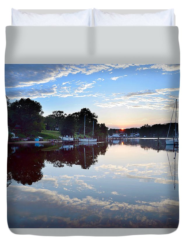 2d Duvet Cover featuring the photograph Clouds In The Water by Brian Wallace