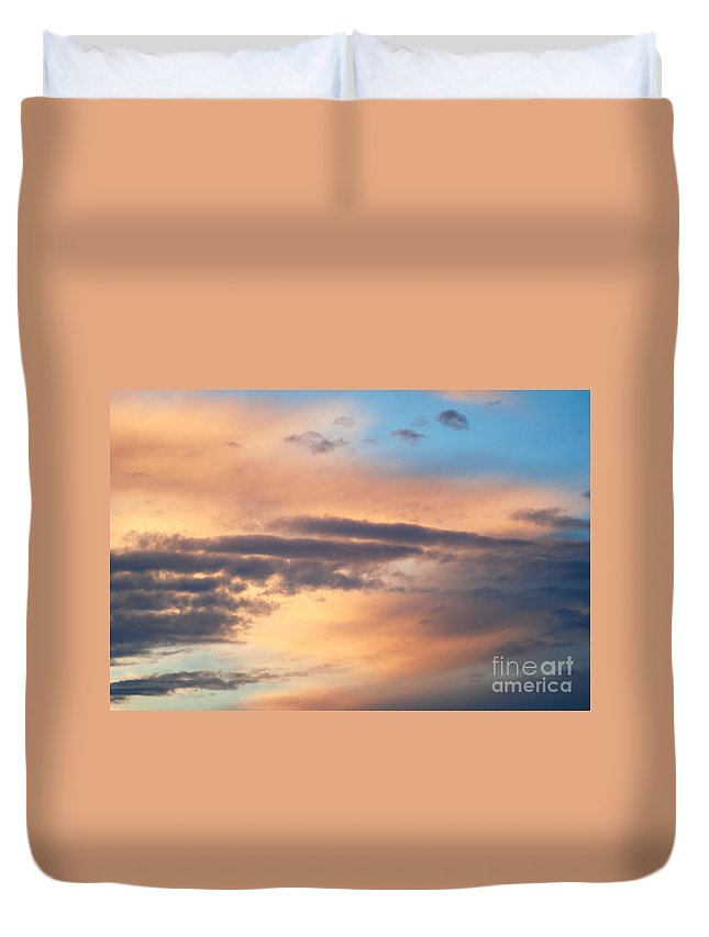 Blue Sky Duvet Cover featuring the photograph Clouds by Optical Playground By MP Ray