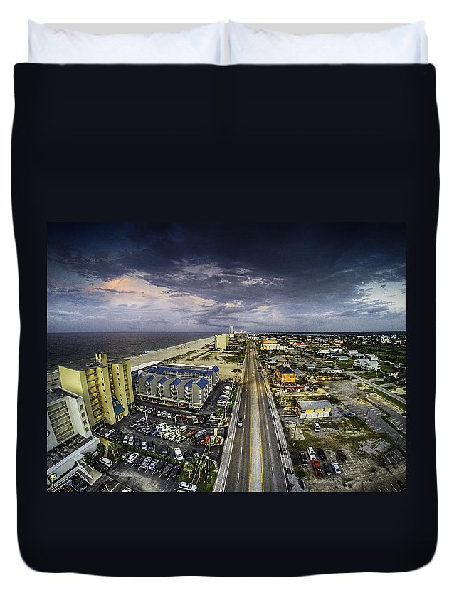 Palm Duvet Cover featuring the digital art Clouds Over Gulf Shores by Michael Thomas