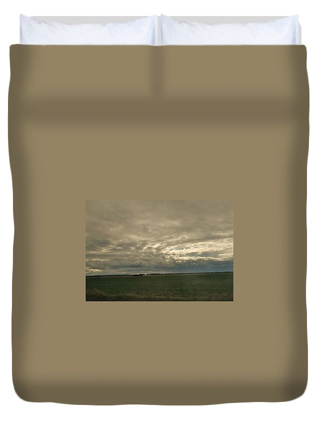 Dramatic Duvet Cover featuring the photograph Clouds Over Illinois by Susan Wyman