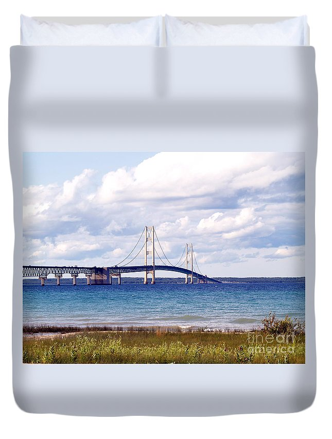 Bridge Duvet Cover featuring the photograph Clouds Over Mackinaw by Melissa McDole