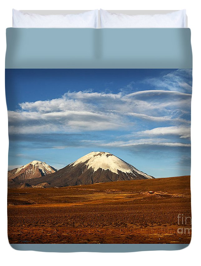 Chile Duvet Cover featuring the photograph Clouds Over The Payachatas Volcanos by James Brunker