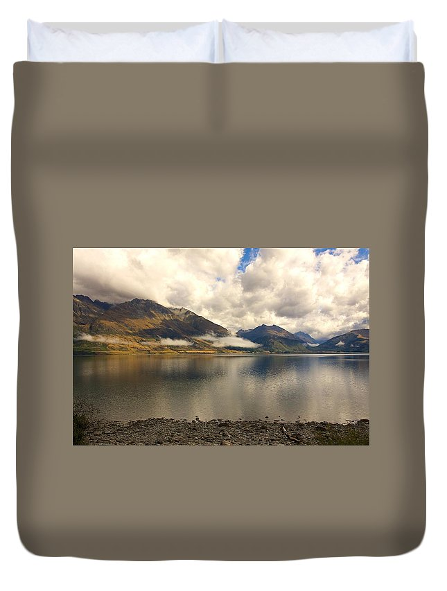 New Zealand Duvet Cover featuring the photograph Clouds Over Wakatipu #1 by Stuart Litoff