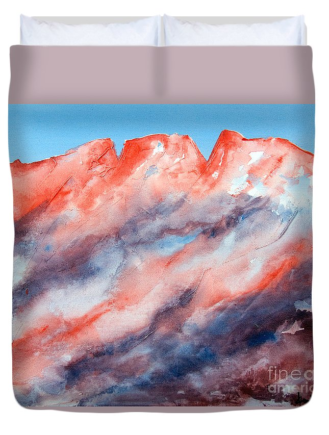 Mountains Painting Duvet Cover featuring the painting Clouds Roll In by Kandyce Waltensperger