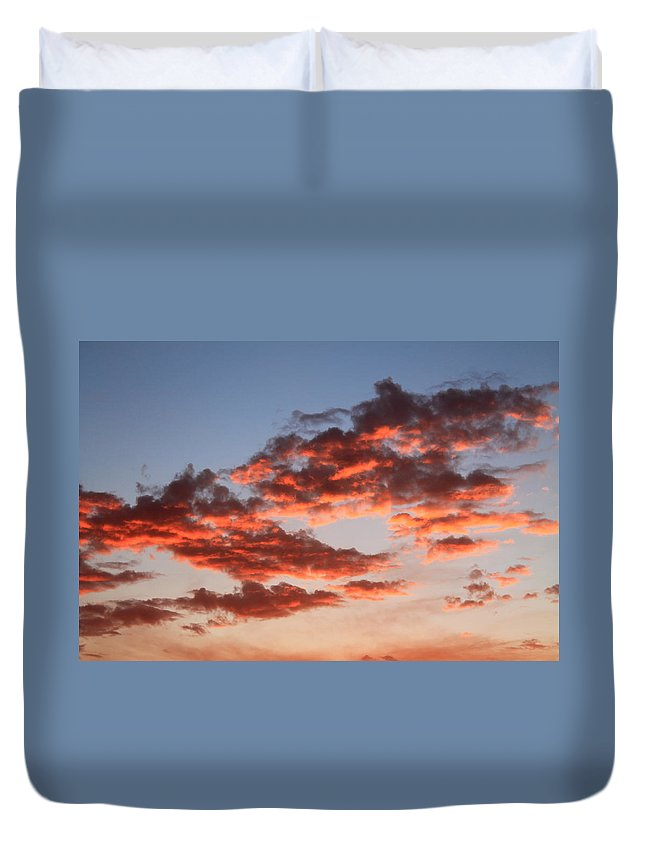 Sunset Duvet Cover featuring the photograph Clouds Shining by Catie Canetti
