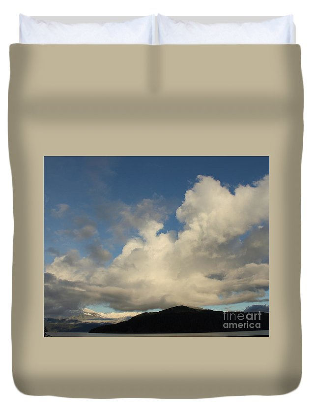 Clouds Duvet Cover featuring the photograph Clouds With Arms by Leone Lund