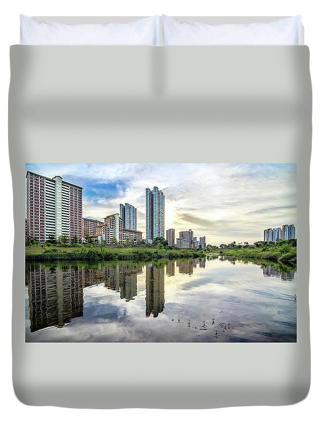 Standing Water Duvet Cover featuring the photograph Clover Reflections by Tia Photography