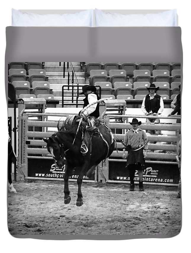 Cowboy Duvet Cover featuring the photograph Clown Watches Bronc Bw by C H Apperson