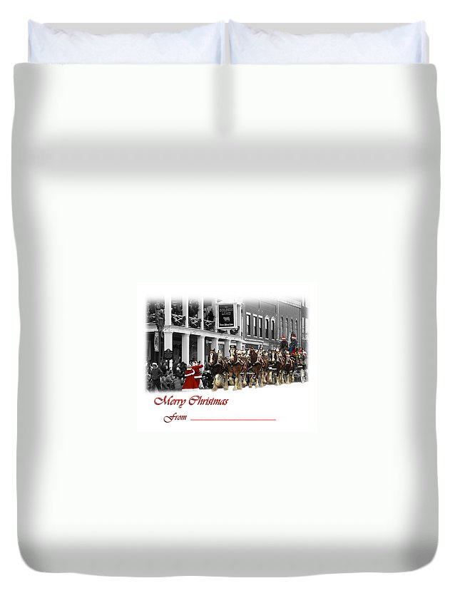 8 Horse Team Duvet Cover featuring the photograph Clydesdale Team Christmas Card by Randall Branham