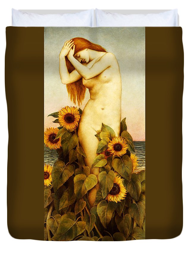Sunflower Duvet Cover featuring the painting Clytie by Evelyn De Morgan