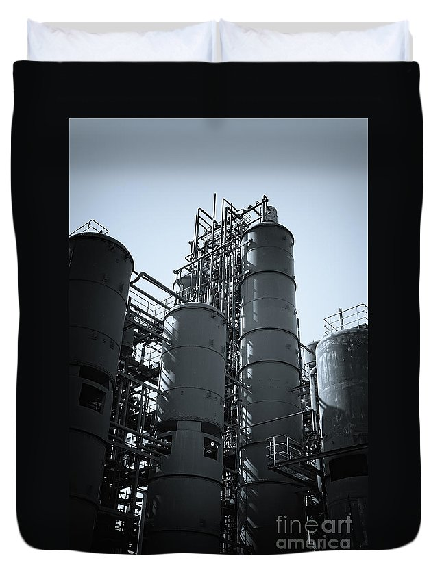 Big Duvet Cover featuring the photograph Coal Washing Plant Silos by Jan Brons
