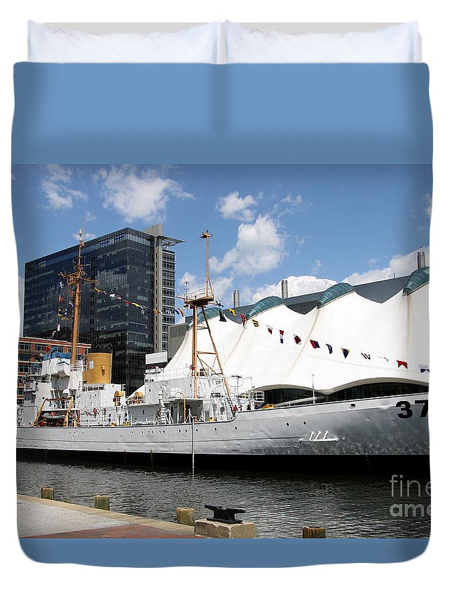 Coast Guard Duvet Cover featuring the photograph Coast Guard 37 - Baltimore Harbor by Christiane Schulze Art And Photography