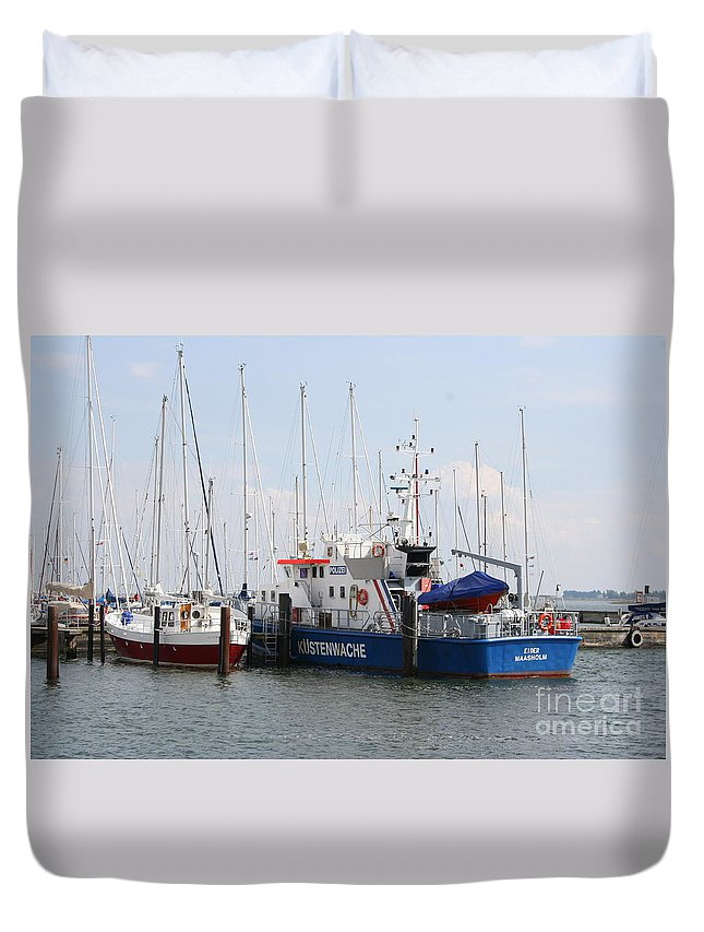 Harbor Duvet Cover featuring the photograph Coast Guard Maasholm Harbor by Christiane Schulze Art And Photography