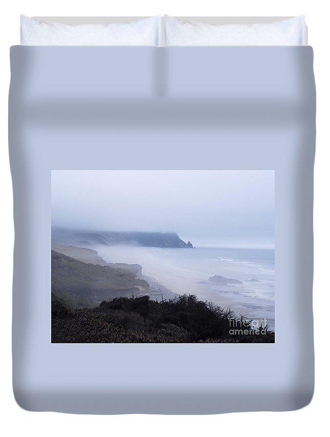Fog Duvet Cover featuring the photograph Coastal Atmosphere by Sharon Elliott
