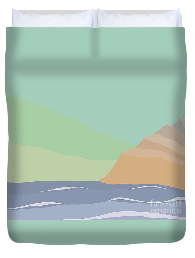 Coast Duvet Cover featuring the painting Coastal Bank by Henry Manning