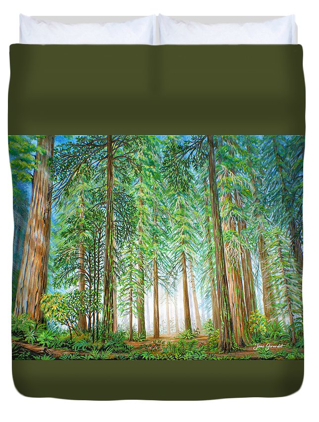 Trees Duvet Cover featuring the painting Coastal Redwoods by Jane Girardot
