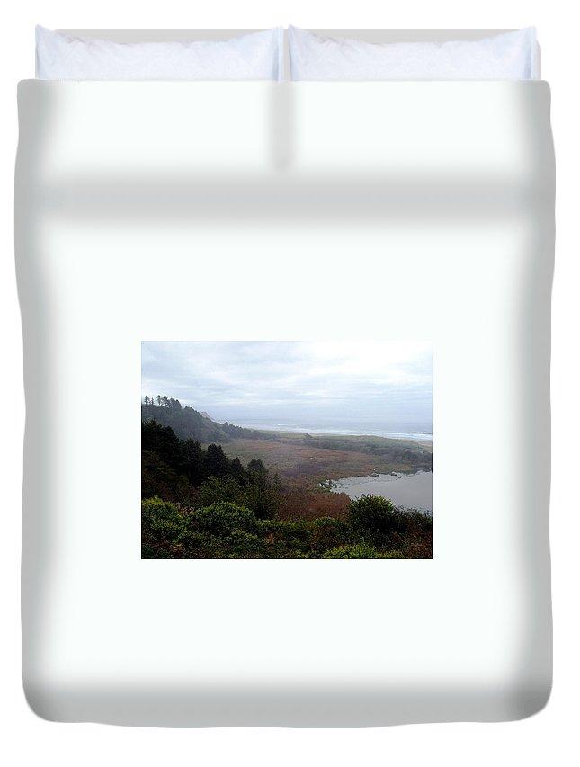 Coast Duvet Cover featuring the photograph Coastal Seascape by Deborah Crew-Johnson