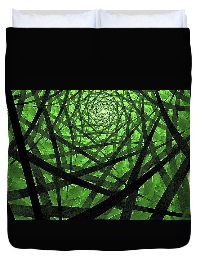 Fractal Abstract Duvet Cover featuring the digital art Coaxial Jungle by Doug Morgan