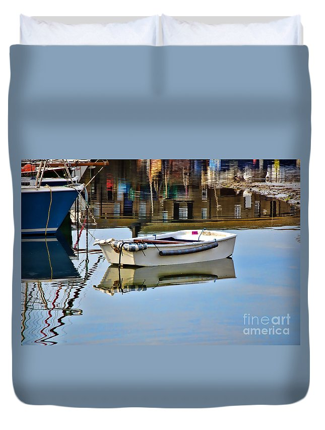 Lyme Regis Duvet Cover featuring the photograph Cobb Reflections by Susie Peek