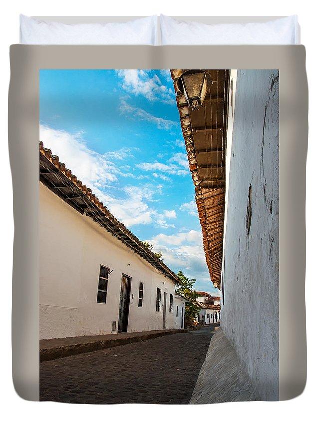 Cobblestone Duvet Cover featuring the photograph Cobblestone Street by Jess Kraft