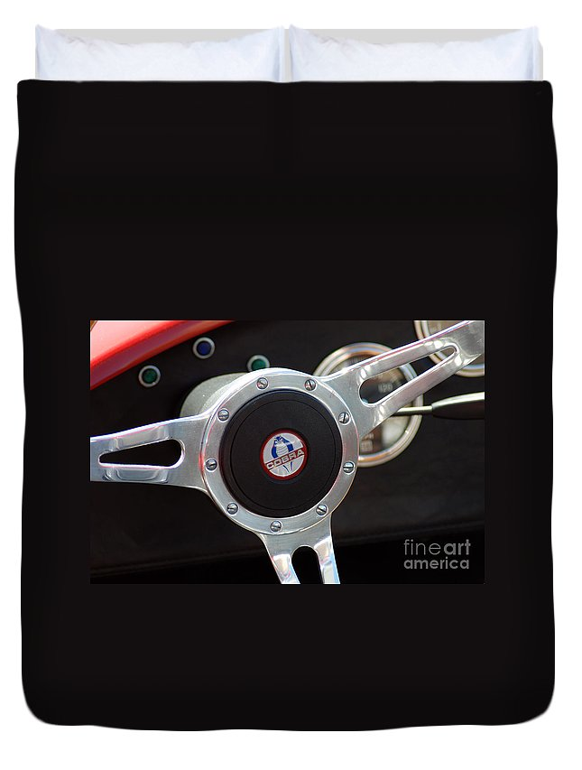 Chevy Cobra Duvet Cover featuring the photograph Cobra Steering Wheel by Optical Playground By MP Ray