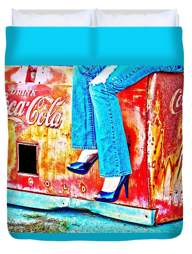 Coca-cola Duvet Cover featuring the photograph Coca-cola And Stiletto Heels by Toni Hopper