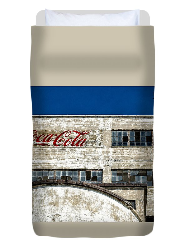 Old Duvet Cover featuring the photograph Coca Cola Sign On Old Factory by Les Palenik