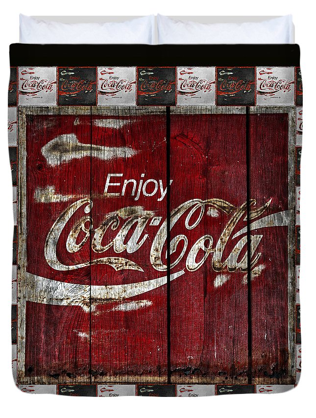 Coca Cola Duvet Cover featuring the photograph Coca Cola Sign With Little Cokes Border by John Stephens