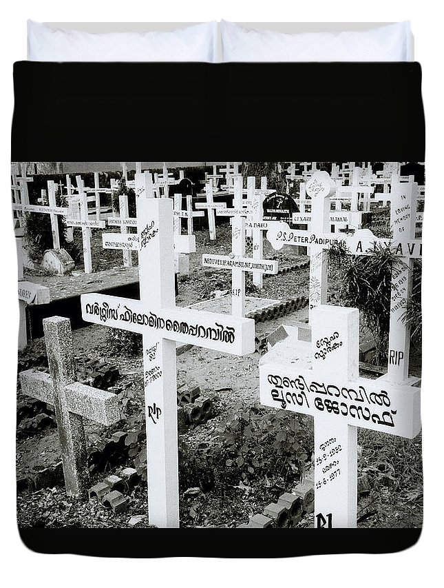 Black And White Duvet Cover featuring the photograph Cochin Cemetery by Shaun Higson