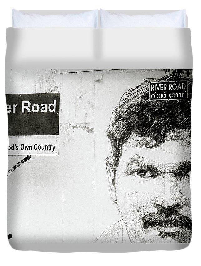 Graffiti Duvet Cover featuring the photograph Street Art In Cochin by Shaun Higson