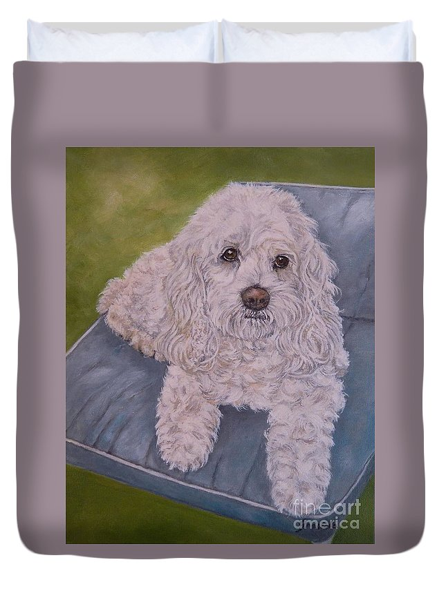 Custom Dog Portrait Duvet Cover featuring the painting Cockapoo by Graciela Castro