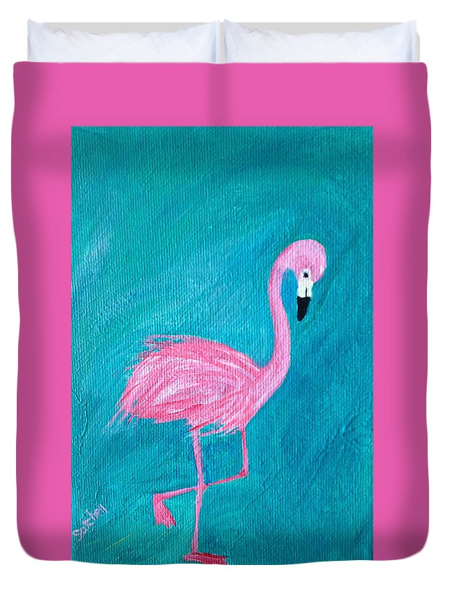 Flamingo Duvet Cover featuring the painting Cocky Flamingo Joe by Maura Satchell