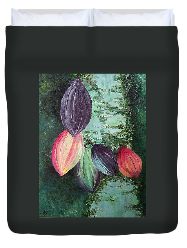 Cocoa On The Tree Duvet Cover featuring the painting Cocoa Pods by Karin Dawn Kelshall- Best