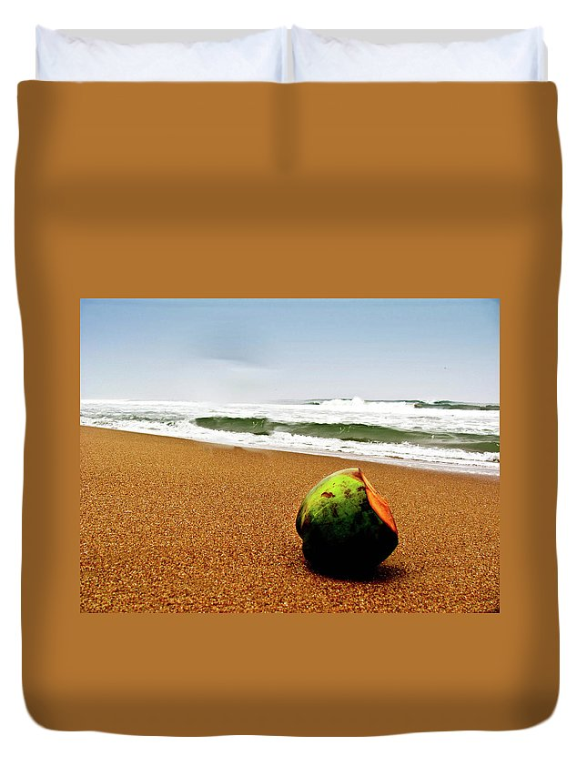 Tranquility Duvet Cover featuring the photograph Coconut On Sandy Beach With Waves And by Amlan Mathur
