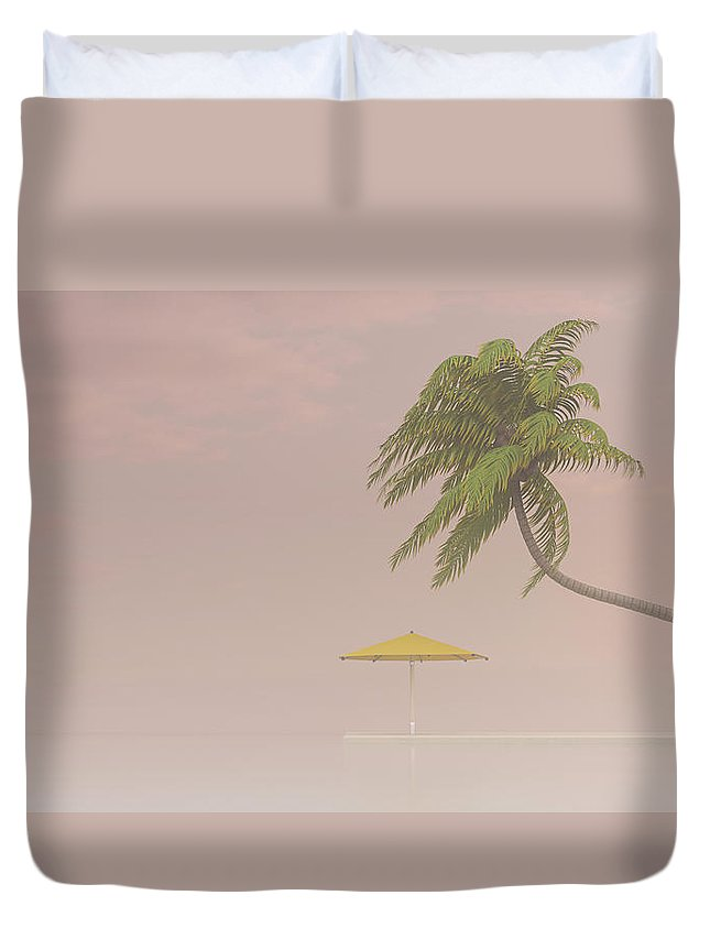 Tranquility Duvet Cover featuring the digital art Coconut Palm And Sunshade In Haze, 3d by Westend61